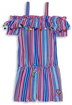 Betsey Johnson Little Girl's Striped Cold-Shoulder Romper