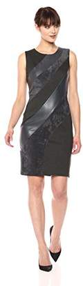 Calvin Klein Women's Diagonal Mixed Media Sheath