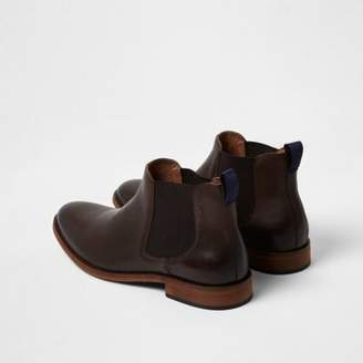 River Island Dark brown leather chelsea boots