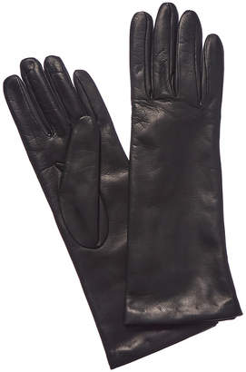 Portolano Long Bottle Green Cashmere-Lined Leather Gloves