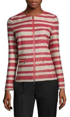 Lafayette 148 New York Kerrington Striped Zip-Front Jacket