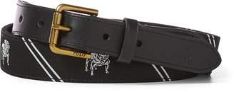 Ralph Lauren Bulldog-Overlay Webbed Belt