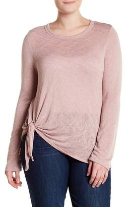Bobeau Tie-Front Knit Top (Plus Size)