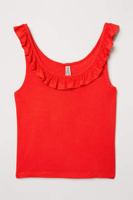 H&M Tank Top with Flounce - Red