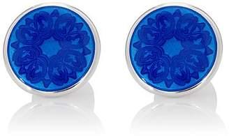 Barneys New York Men's Floral-Detailed Cufflinks - Blue