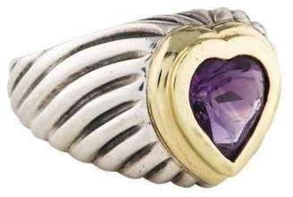 David Yurman Amethyst Heart Cable Ring