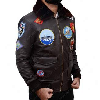 9b8ab02f4a6 Top Gun The Custom Jacket Aviator Jacket Tom Cruise Patch Bomber Real  Genuine Leather Coat (