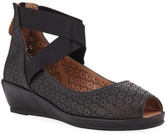 Gentle Souls Lisa Perforated Demi-Wedge Comfort Sandals