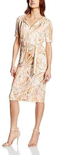 Basler Women's Coral Jersey Dress With Ribbon Pencil Aztec Short Sleeve Dress,8 (Manufacturer Size:34)