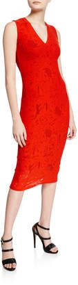 Fuzzi V-Neck Sleeveless Lace Dress