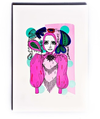 The Completist Neon Line Lady Limited Edition Screen Print