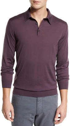 Ermenegildo Zegna Merino Wool Polo Sweater, Medium Purple