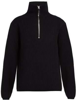 Acne Studios Half Zip Wool Blend Sweater - Mens - Black
