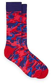 Barneys New York MEN'S CAMOUFLAGE COTTON-BLEND MID-CALF SOCKS-PINK