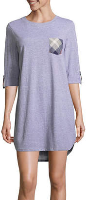 Asstd National Brand Peace Love & Dreams Womens Nightshirt Elbow Sleeve Round Neck