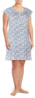 Miss Elaine Plus Short-Sleeve Floral Night Gown