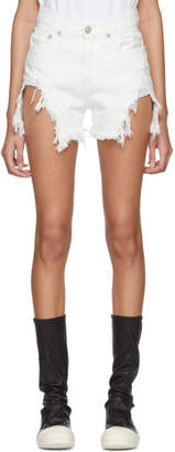 R 13 White Shredded Slouch Shorts