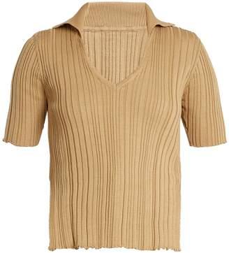 V-neck ribbed-knit cotton top