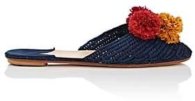 Barneys New York Women's Pom-Pom-Embellished Raffia Mules - Navy