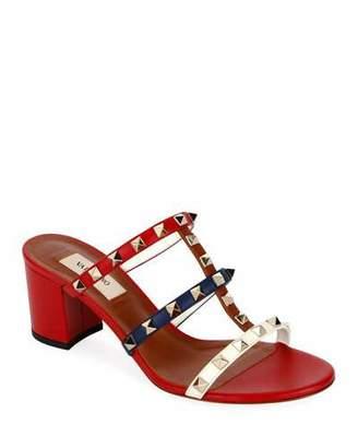 Valentino Rockstud Caged 60mm Colorblock Slide Sandals