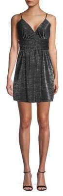 BCBGeneration Metallic Shirred Surplice Mini Dress