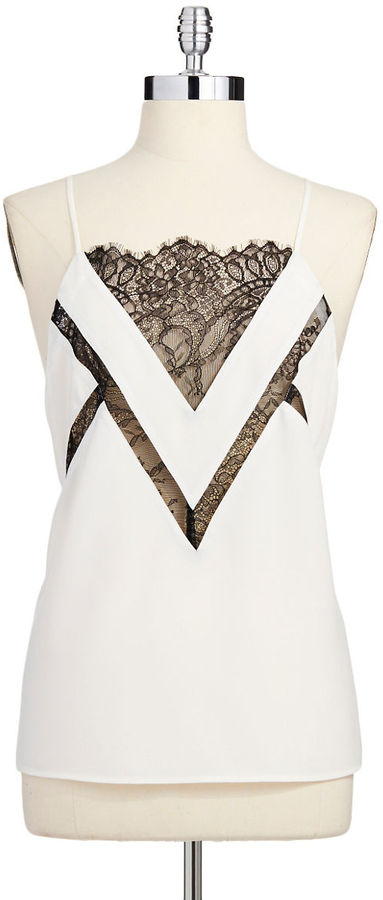 Patterson J. Kincaid Lace Accented Sleeveless Top