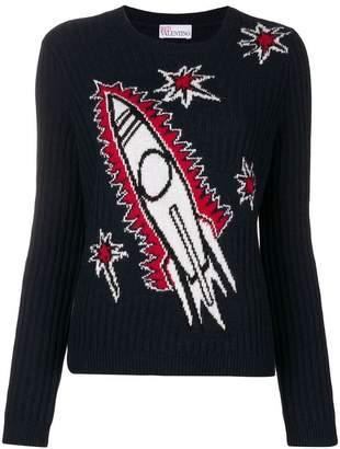 RED Valentino rocket intarsia jumper