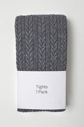 H&M Textured-knit Tights - Black