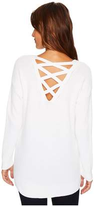 Tribal Long Sleeve Combed Cotton Sweater w/ Lace-Up Back Detail Women's Sweater