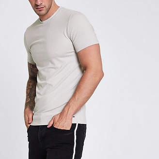 River Island Light grey ribbed muscle fit T-shirt