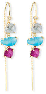 Tai Three-Stone Threader Earrings