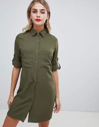 Missguided utility shirt dress in khaki