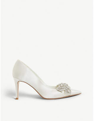Dune Beaubellee embellished satin pointed-toe court shoes