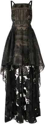 Marchesa high-low rose lace dress