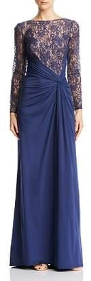 Tadashi Shoji Draped Lace-Bodice Gown