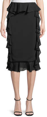 Cushnie et Ochs Romina Pencil Skirt with Georgette Ruffle Sides