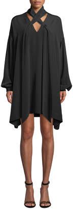 Diane von Furstenberg Jessamine Lace-Up Silk Long-Sleeve Short Dress