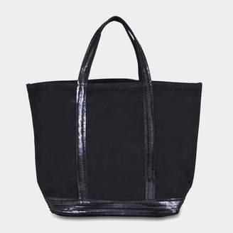 Vanessa Bruno Leather and Sequins Medium Tote Bag in Denim Blue Cowhide