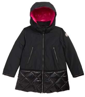 Moncler Sibylle Down Trim Hooded Coat