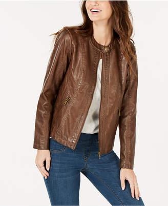 Style&Co. Style & Co Petite Faux-Leather Moto Jacket