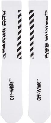 Off-White White Diagonal Logo Socks $75 thestylecure.com