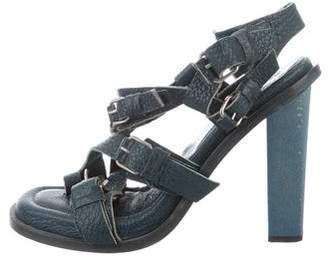 Balenciaga Cross-Strap Leather Sandals