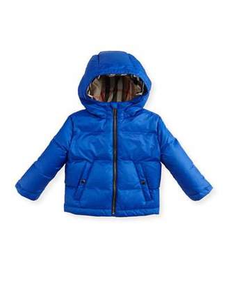 Burberry Rio Hooded Puffer Jacket, Blue, Size 12M-3 $250 thestylecure.com