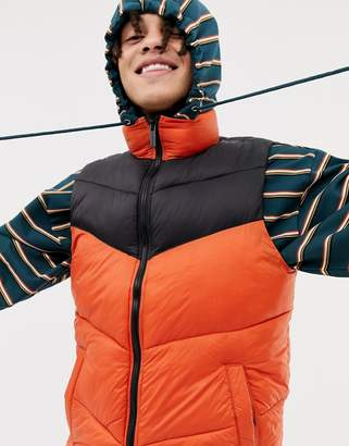 Pull&Bear quilted vest in orange