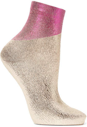Maria La Rosa Two-tone Metallic Silk-blend Socks