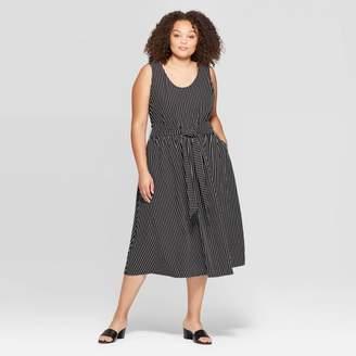 Who What Wear Women's Plus Size Sleeveless U-Neck Wrap Waist Tank A Line Dress
