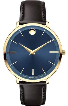 Movado Women's Ultra Slim 35mm Brown Leather Band Gold Plated Case Quartz Blue Dial Analog Watch 0607092
