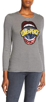 Melissa Masse Plus Size Sequin Love & Peace Striped Long-Sleeve Tee