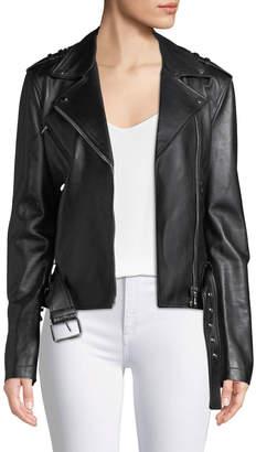 Michael Kors Ruffled-Sleeve Lamb Leather Moto Jacket