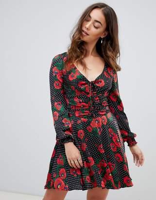 Free People Morning Light poppy and spot mini dress